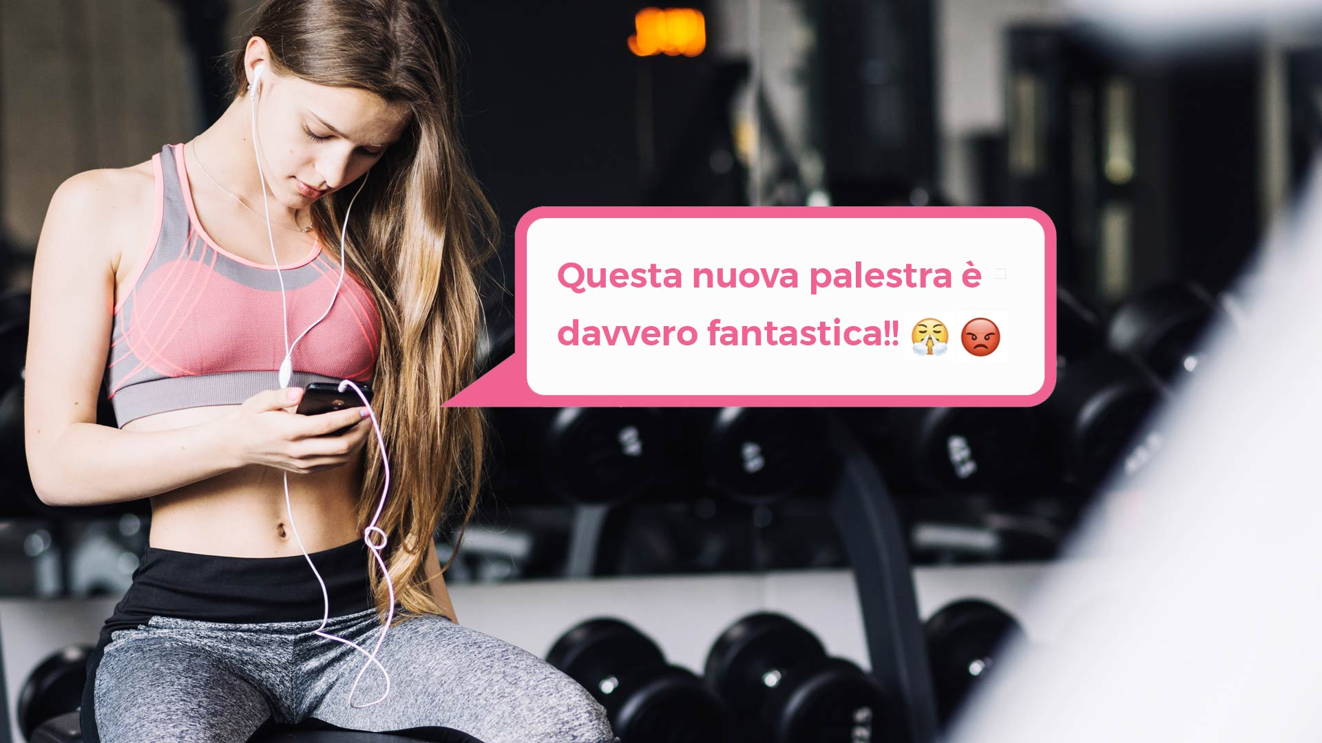 Woman-gym-mobile-phone-emoji-ironic