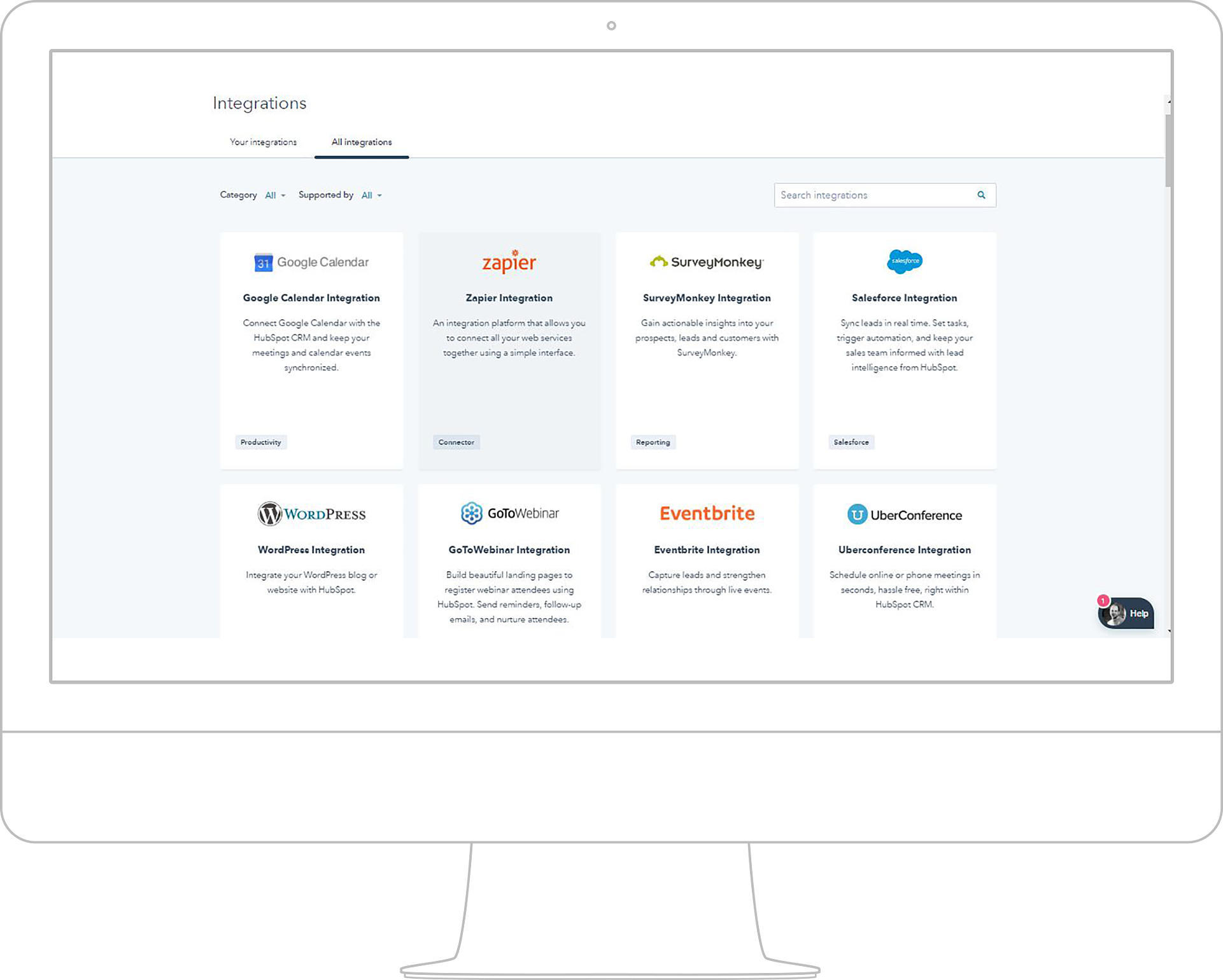 HubSpot Integrations can be made with many of the most popular digital marketing software and tools