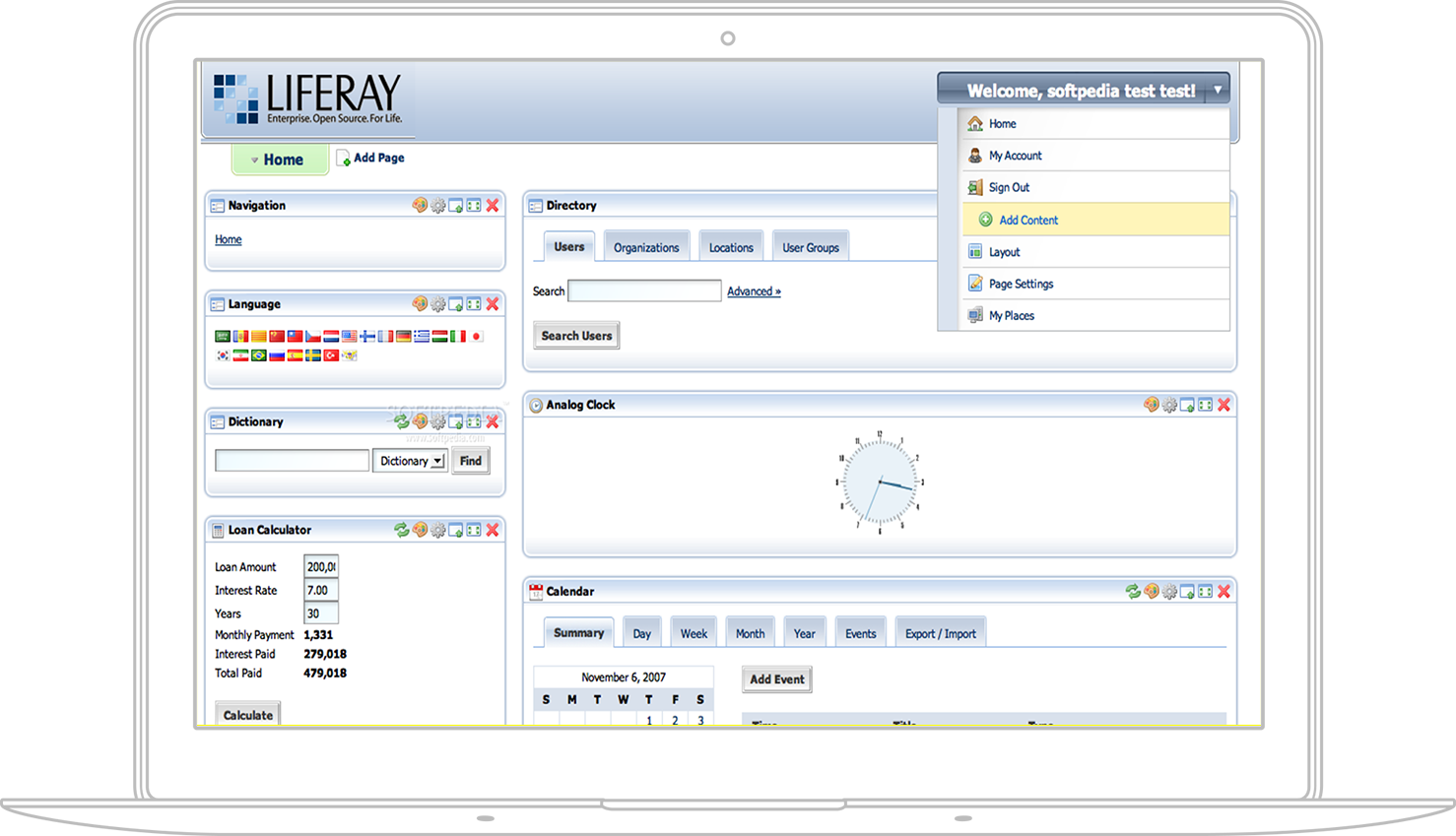 Take a look at Liferay enterprise web portal and Liferay CMS