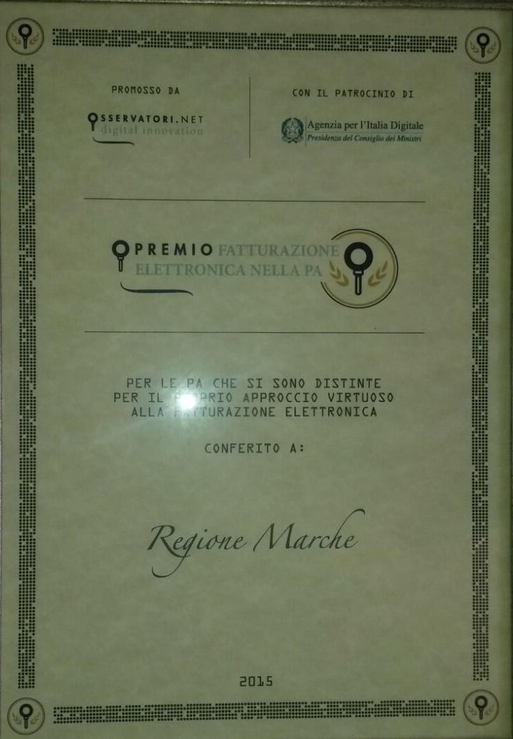 Premio Fatturazione Elettronica PA 2015 - Osservatori Digitali PoliMI - Regione Marche